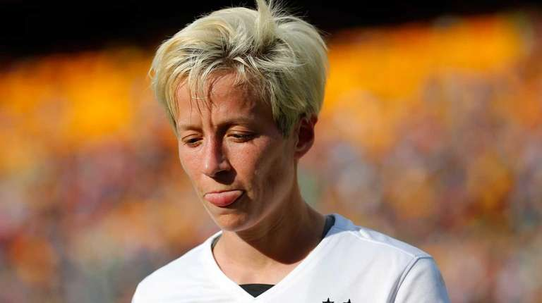 Megan Rapinoe #15 of the United States reacts