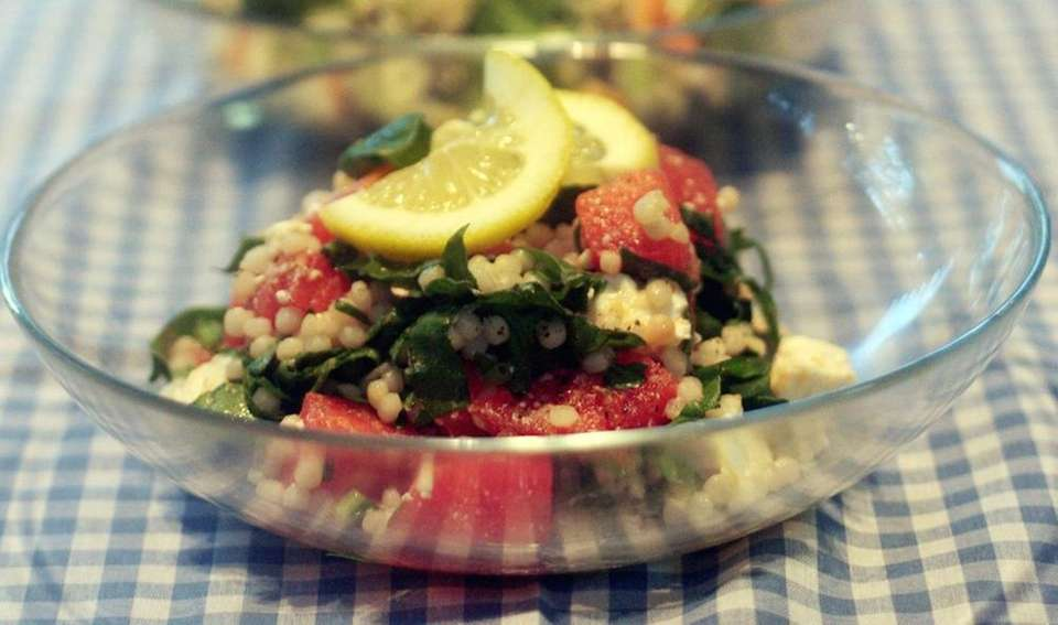 Israeli couscous with watermelon, watercress and feta