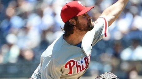 Philadelphia Phillies starting pitcher Cole Hamels delivers a