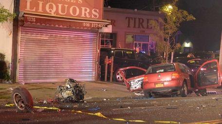 A car struck a utility pole early Thursday,