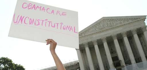 Obamacare protester at the Supreme Court.