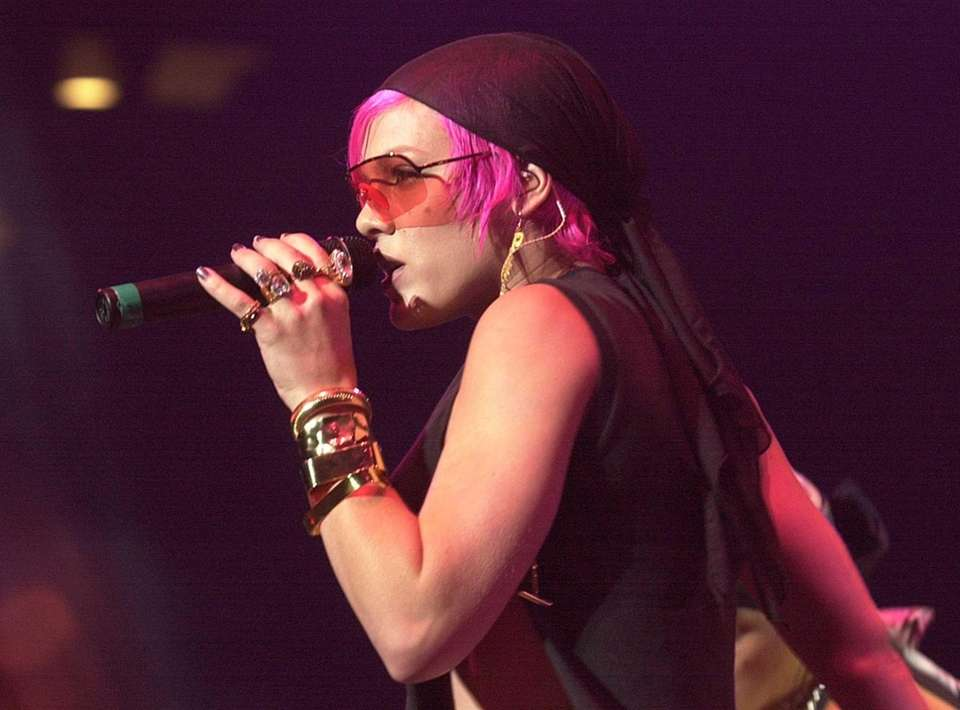 Pink performs at the Nassau Coliseum on Friday,