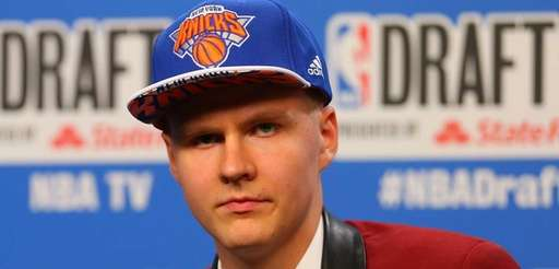 Kristaps Porzingis of Latvia speaks to the media