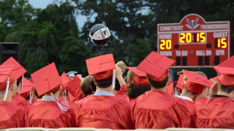 Connetquot High School seniors at their graduation ceremony