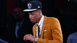 Chris McCullough of Syracuse celebrates after being drafted
