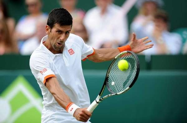Serbia's Novak Djokovic in action against France's Richard