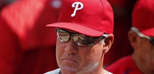 Philadelphia Phillies manager Ryne Sandberg walks through his