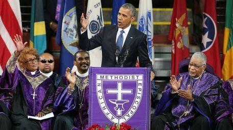 President Barack Obama delivers the eulogy for South