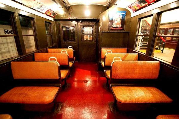 Inside the roomier BMT D-Triplex subway car that