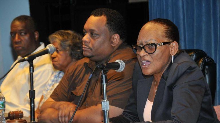 Susan Johnson, right, superintendent of Hempstead schools, with