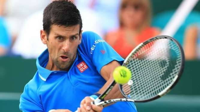 Novak Djokovic in action during his match with