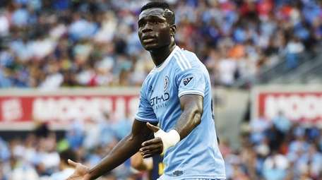 NYC FC midfielder Kwadwo Poku pleads with the