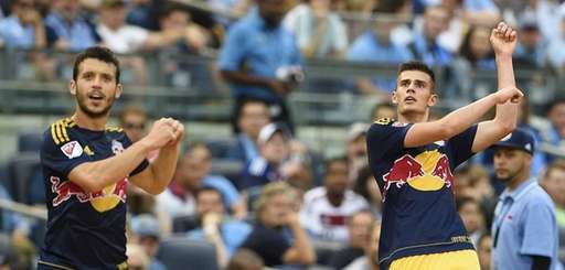 Red Bulls defender Matt Miazga (20) celebrates with