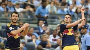 Red Bulls defender Matt Miazga (20) celebrates with