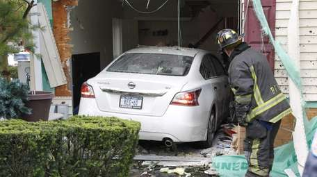 Police and firefighters at the scene of an