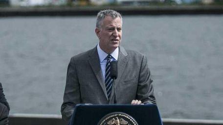 New York Mayor Bill de Blasio speaks at