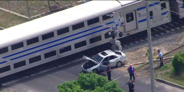 A train struck a vehicle on the tracks