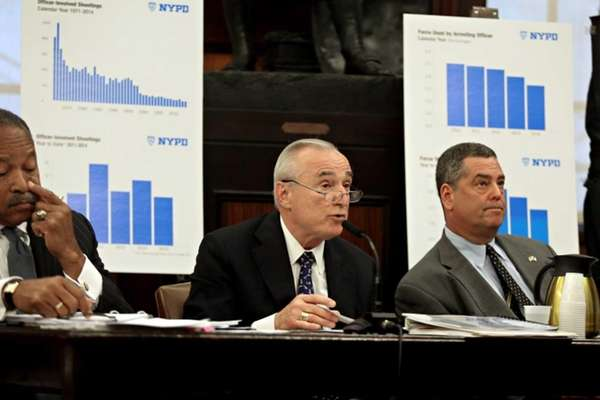 New York City Police Commissioner Bill Bratton, center,