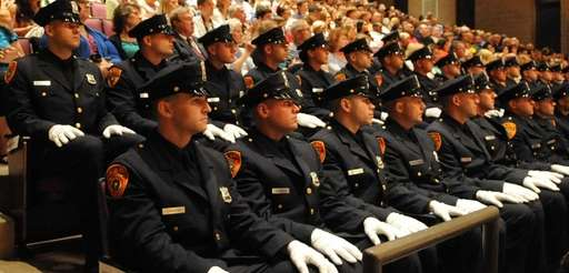 Suffolk County police graduates at the Staller Center
