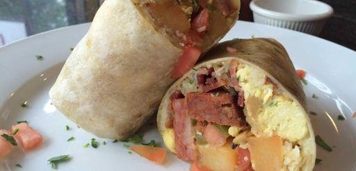 Breakfast burritos with eggs, Monterey Jack cheese, salsa
