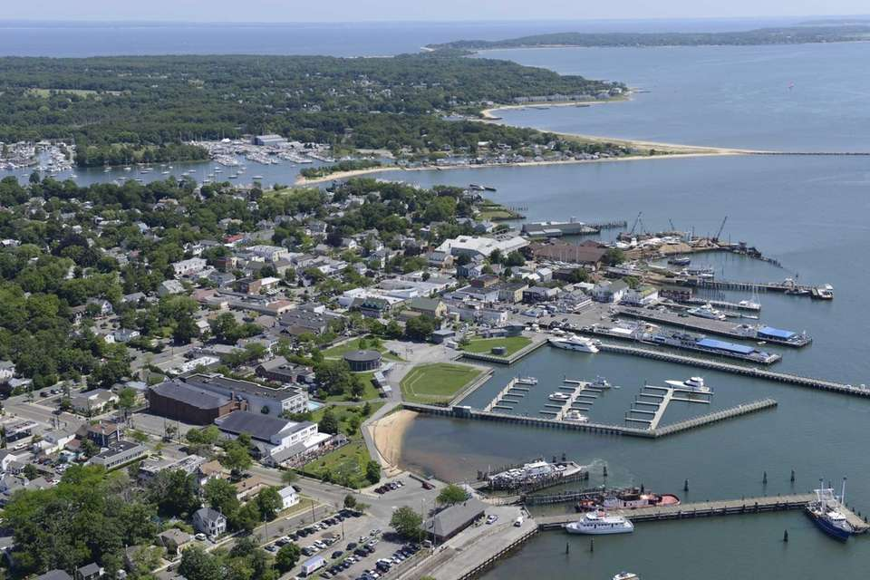 Aerial view of the Village of Greenport on