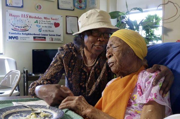 Susannah Mushatt Jones, 115, right, of Brooklyn, was