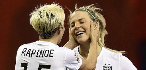 USA midfielder Megan Rapinoe, left, and USA defender