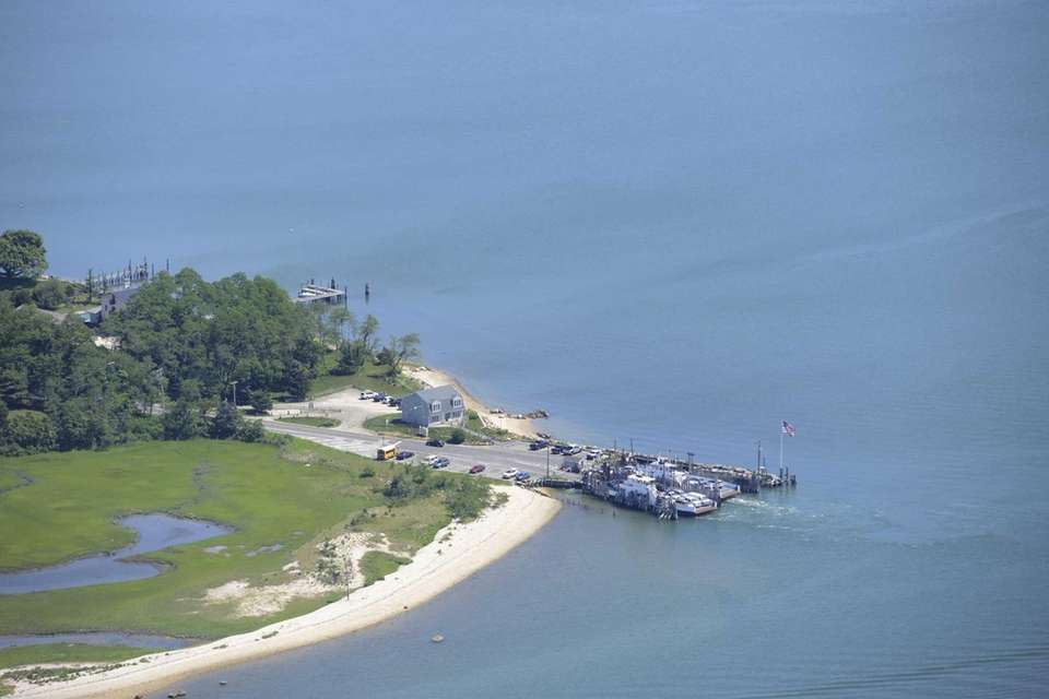 An aerial view of the North Ferry landing