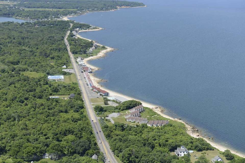 Aerial view of the Sound View Inn on