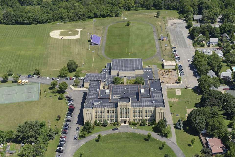 Aerial view of Greenport High School, located at