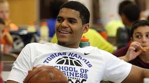 Tobias Harris takes in some lunch with his