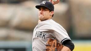 Nathan Eovaldi of the New York Yankees throws