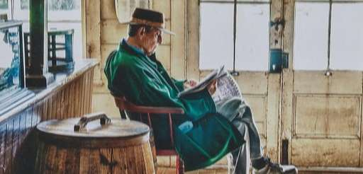 Harold Pockriss of Freeport relaxes at the Old
