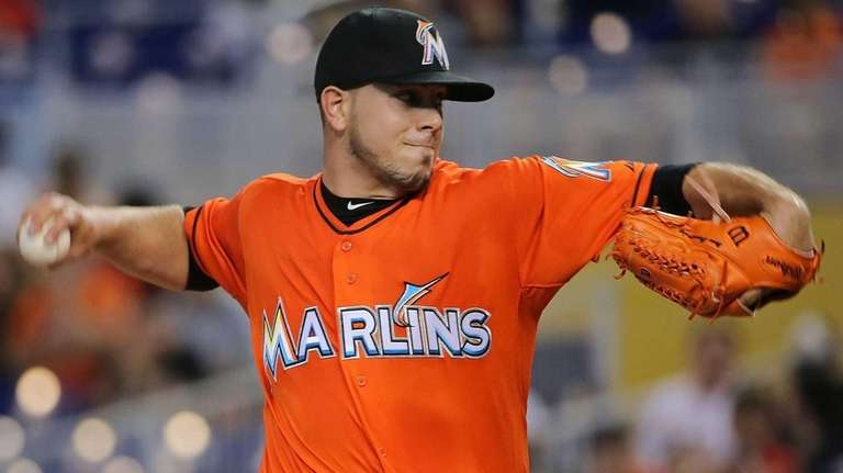 Jose Fernandez #16 of the Miami Marlins pitches