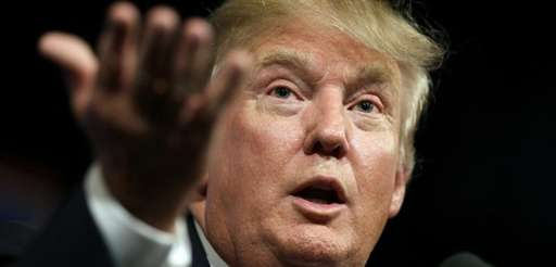 Republican presidential candidate Donald Trump speaks to supporters