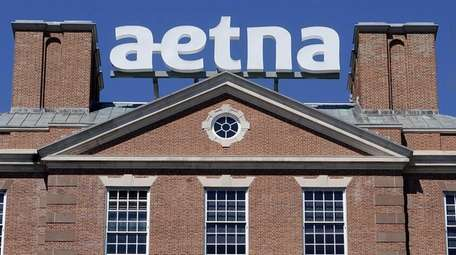 A sign for Aetna Inc., sits atop a