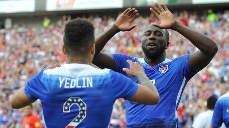 Jozy Altidore of the United States congratulates teammate