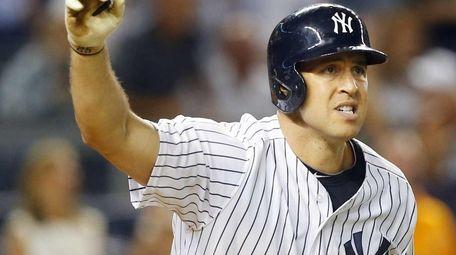 Mark Teixeira of the New York Yankees follows