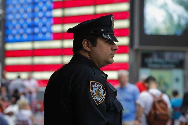A New York City police officer keeps an