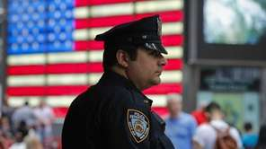 A New York City police officer keeps an