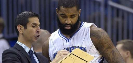 Orlando Magic interim head coach James Borrego, left,