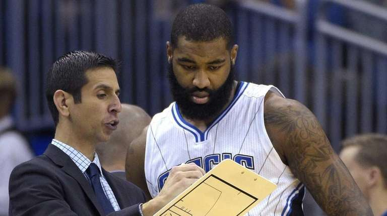 Orlando Magic interim head coach James Borrego, left,