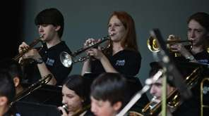 The Harborfields High School Jazz Band performs during