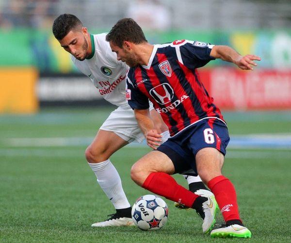 Cosmos midfielder Sebastian Guenzatti #13 and Indy Eleven