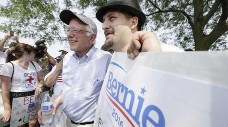 Democratic presidential candidate Sen. Bernie Sanders with a