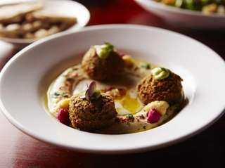 Hummus with herbed falafel is a very good