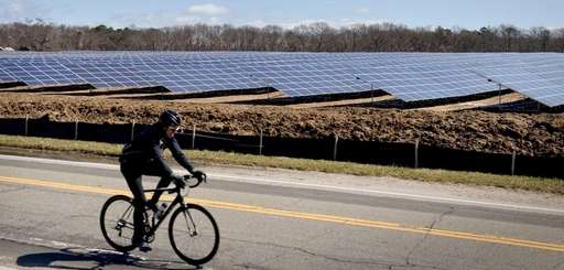 A bicyclist rides past the massive solar farm