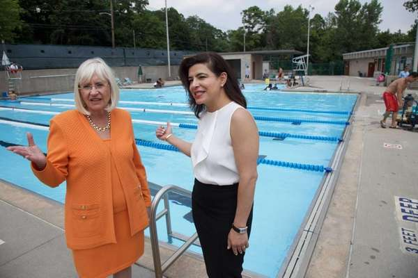 Town of North Hempstead Supervisor Judi Bosworth, left,