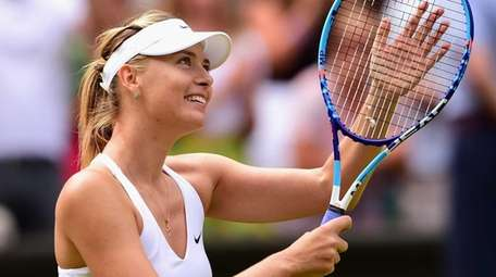 Maria Sharapova celebrates winning her ladies singles quarterfinal
