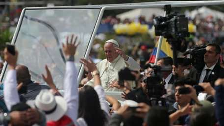 Pope Francis arrives to celebrate Mass at Bicentennial